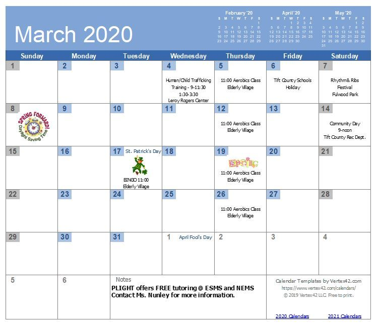 TIHAGA March 2020 Calendar - all information listed on the calendar page, see link below