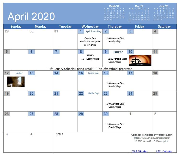 TIHAGA April 2020 Calendar - all information listed on the calendar page, see link below